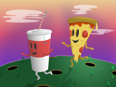 Fast Friends coke pizza fast food illustration