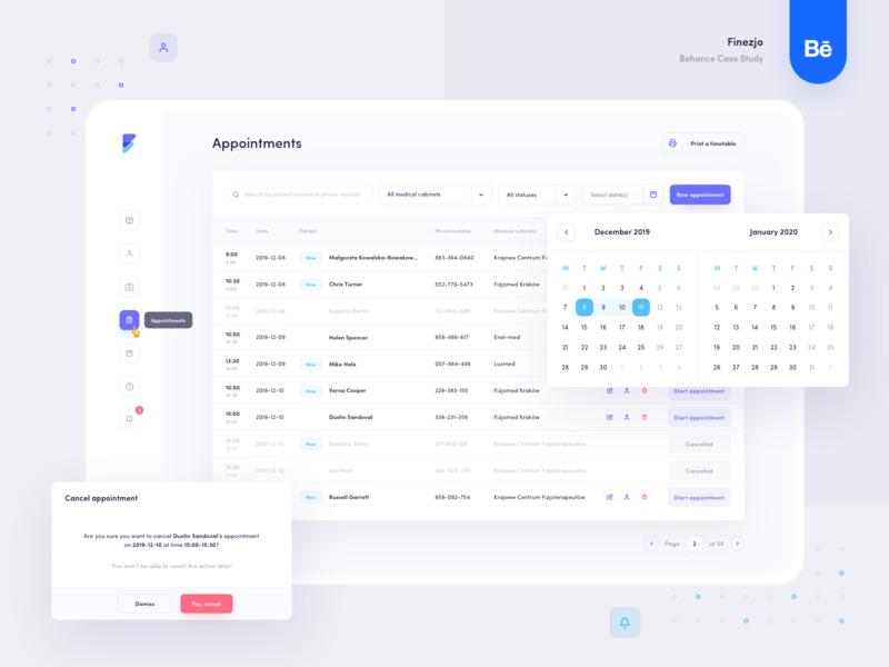 Finezjo - Appointments web app web design minimal design clean table calendar ui ux medical healthcare web appointment app