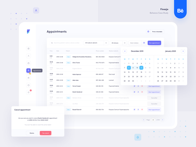 Finezjo - Appointments web app web design minimal design clean table calendar ui ux medical healthcare web appointment app