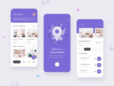 Beauty services app 💅🏻 3d illustration mobile ios interface clean ui ux minimal design onboarding beauty app