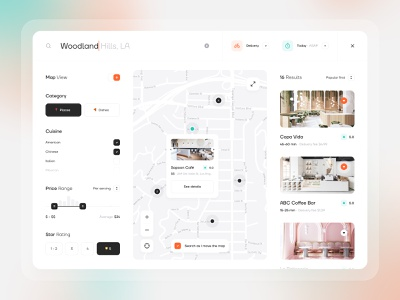 Food delivery - Search for places dark ui desktop interface app ux ui filters map delivery food search web