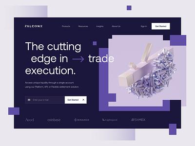 FalconX - Trading Platform bitcoin trade design fintech crypto web dark hero landing minimal ui