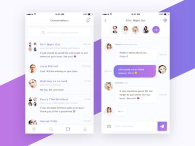 Social App - Conversations clean ux message social chat conversation design mobile minimal ui ios app