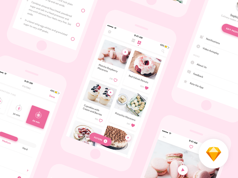 Download 🍭 Desserts App – Sketch freebie