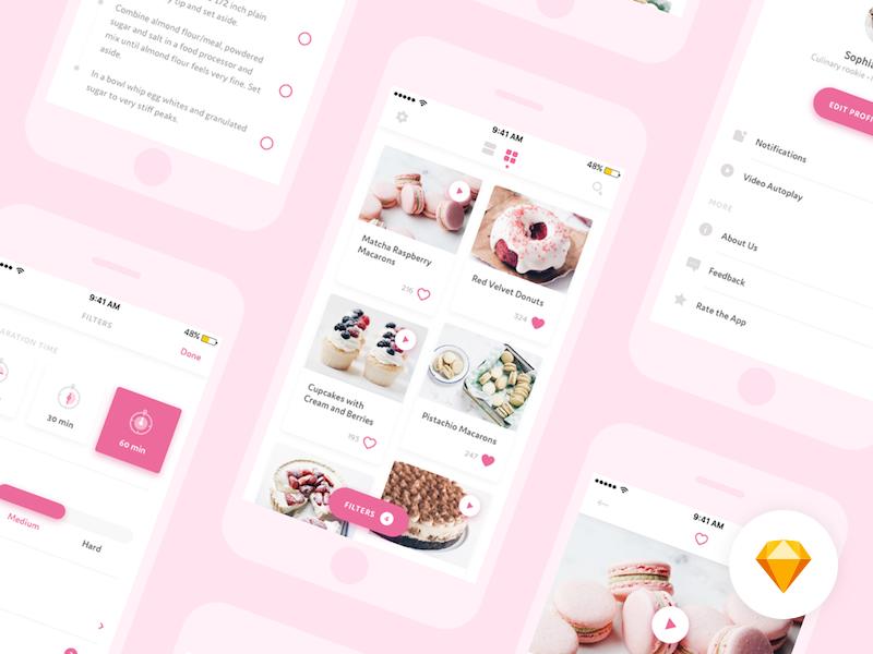 🍭 Desserts App – Sketch freebie
