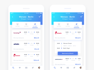 GoEuro redesign - Search Results mobile ui ux app ios sketch design interface blue clean concept travel