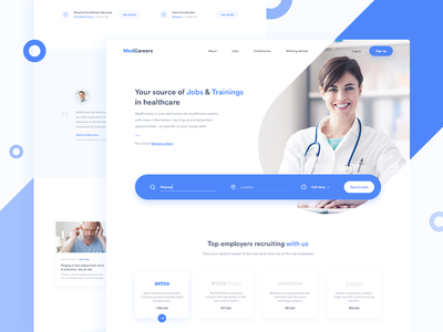 MedCareers - Recruitment in Healthcare 👩🏻⚕️ sketch landing page interface design web ux ui minimal homepage clean jobs recruitment