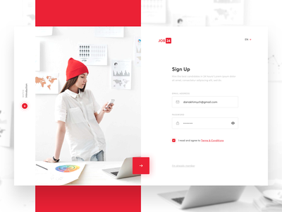 HR concept - Sign Up interface concept jobs register clean design minimal sketch ui ux web sign up