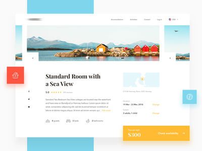Cottage Booking 🏠 - Style exploration website booking app web ux ui sketch minimal interface design clean