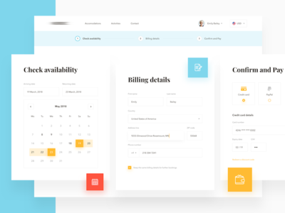 Cottage Booking Process clean design interface minimal sketch ui ux web payment booking website