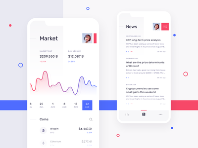 Cryptolytics - Cryptocurrency market and news 📊 sketch mobile clean minimal ux ui design ios interface app news market crypto