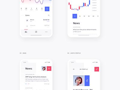Cryptolytics - Light 🌞 chart profile bitcoin coins news crypto mobile ios sketch app interface clean minimal ux ui design
