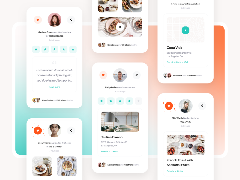 Food delivery platform - Activity feed widget activity feed web food social sketch clean minimal interface ux ui design