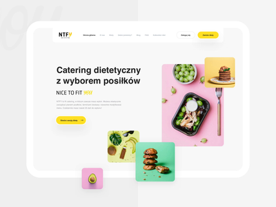 NTFY - Diet catering delivery ntfy interface minimal clean diet yellow catering ux ui mobile web food animation