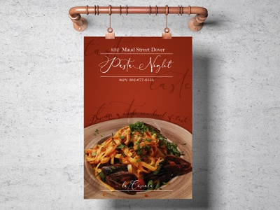 Pasta Night Poster restaurant branding branding luxurious modern photoshop food illustration foodie food and drink promotion restaurant food pasta