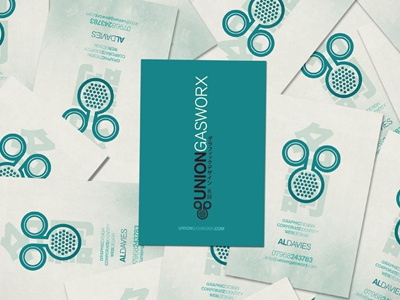 Union Gasworx Business Cards design business cards turquoise print branding identity self-promotion