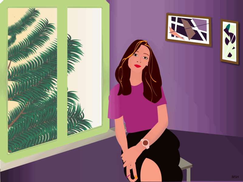 Portrait of a Lady at the Gallery Cafe color purple graphicdesign design illustration adobe illustrator cafeteria cafe