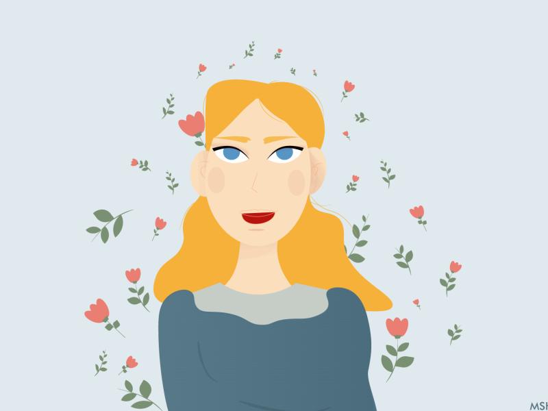 Flowers Around Her her around flowers woman colorful adobe illustrator illustration