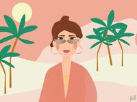 Summer TIme happy land pink palms sunglasses flat design place mysterious sun sunglass woman summertime summer flat adobe illustrator illustration