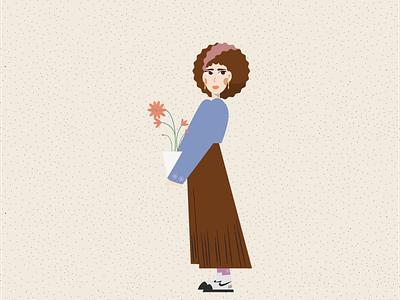 holding FLOWER POT fashion flower holding flowerpot curly girl adobe illustrator illustration