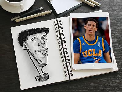 Lonzo Ball basketball lakers wacom illustration sketch drawing caricature lonzoball lonzo
