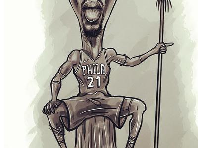 Joel Embiid africa cameroon caricature 76ers theprocess embeef basketball phila nba beef embiid joel