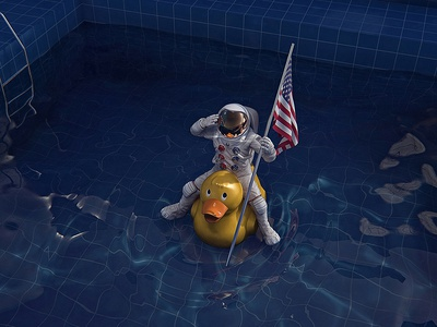 Mission Mars illustration pool water rubber duck landing nasa space spacepool astronaut mars