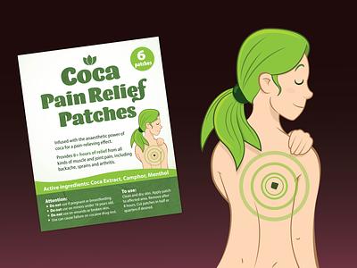 Coca Patch Label medical branding adobe green girl adobe illustrator vector lebel label design canada vancouver coca leaf coca
