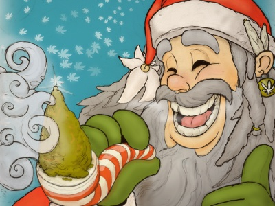 Chronic Christmas christmas card pencils photoshop art cannabis holidays x-mas funny photoshop illustration santa sketch christmas