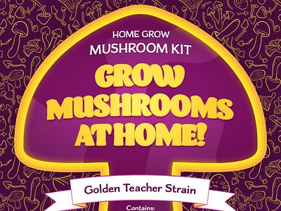 Mushroom Grow Kit Packaging adobe illustrator vectors canada pattern making patterns graphic design package design magic mushrooms mushrooms