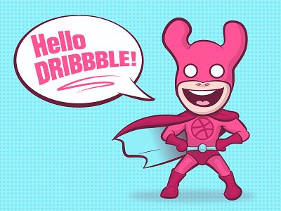 Hello Dribbble! character design hello dribbble superhero comicbook 2d debut invite