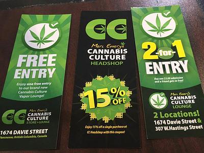 Cannabis Culture Coupons graphic design canada vancouver free cannabis marijuana coupon