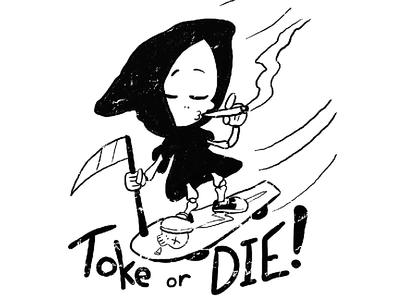 Toke or Die! character design cartoon 2d skull grim reaper skateboarding skate