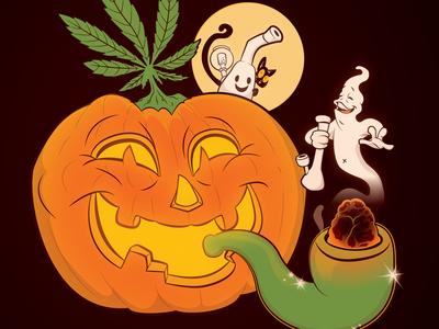 Hempy Halloweed canada vancouver halloween design illustration 2d marijuana cannabis weed holiday halloweed halloween