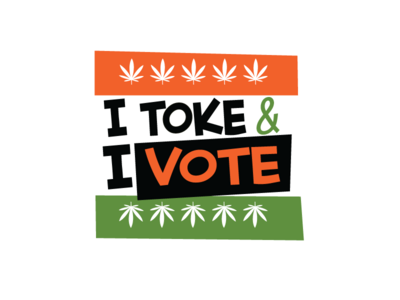 I Toke and I Vote cannabis graphic design 2d marijuana toke toker election voting vote