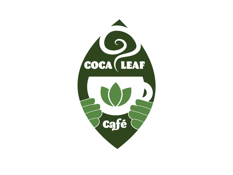 Coca Leaf Café gary wintle vector green logo healing graphic design canada vancouver shaman colombia equador peru south america coca leaf coca cafe