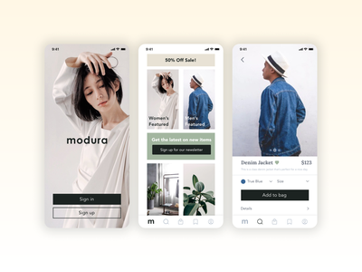 Modura Clothing mobile ecommerce app ui
