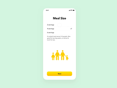 Meal Size Prototype principle for mac ux illustration app
