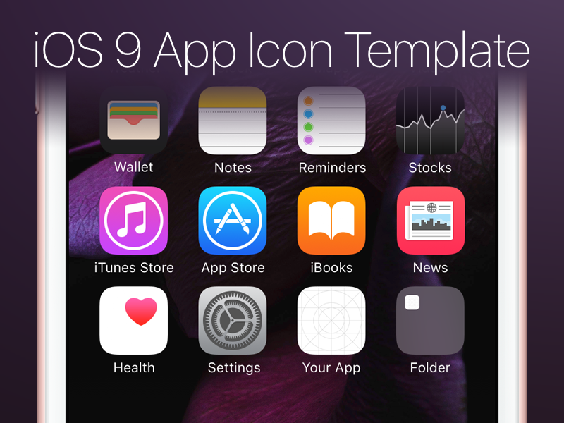 IOS 9 App Icon Template PSD