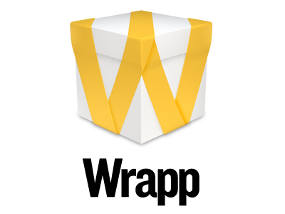 Wrapp Logo logo logotype brand branding icon ribbon wrapp yellow app box iphone android