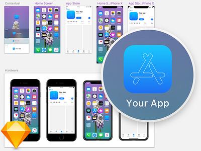 iOS 11 App Icon Template iphone x ios 11