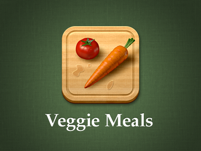 Veggie Meals app icon icon carrot tomato drops wood texture linen vegetarian veggie meals food eat branding cutting board