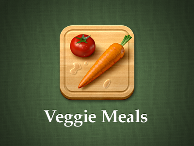 Refreshed Veggie Meals icon cutting board branding eat food meals veggie vegetarian linen texture wood drops tomato carrot icon ios