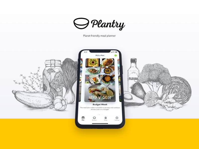 Plantry illustration logo branding