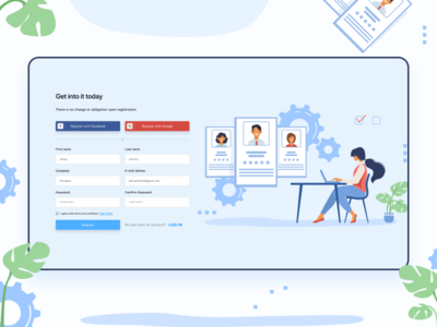 Registration page for employee onboarding platform employment employees crm software crm registration form registration page registration ux illustration ui design uiux visual user experience user interface userinterface user interface design figma design figmadesign ui design