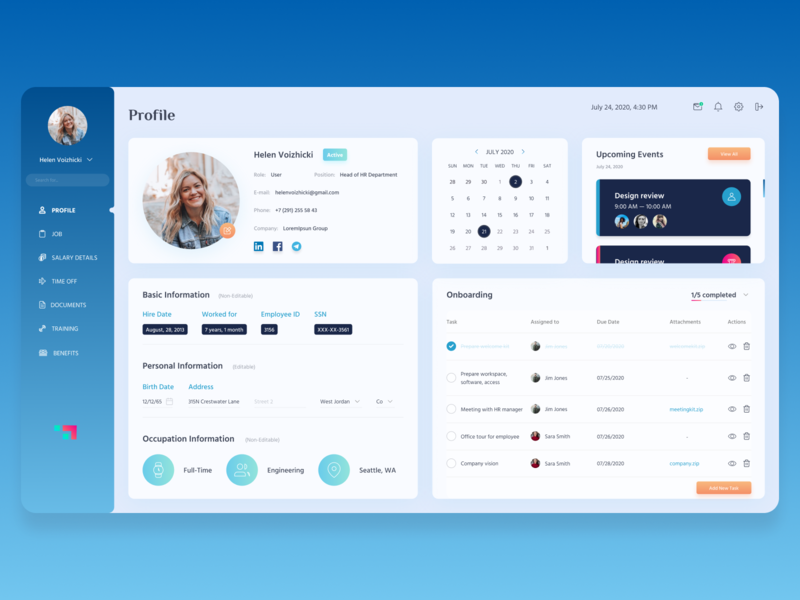 Employee Onboarding Platform - Employee Profile profile dashboard design dashboard ui dashboad employee crm software crm user experience user interface userinterface uiux ui design user interface design figma design figmadesign ui design