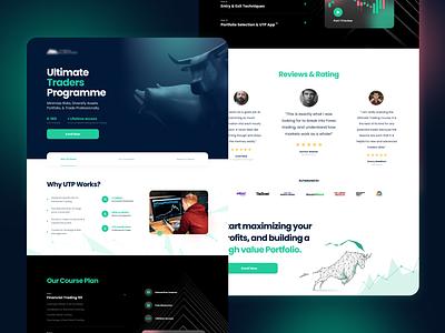 Trading Course Landing Page glassmorphism market trading finance web design landing page elearning