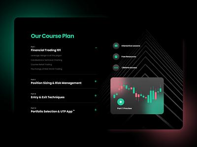 Financial Trading Course Details dark theme dark ui glassmorphism landing page elearning course trading web design