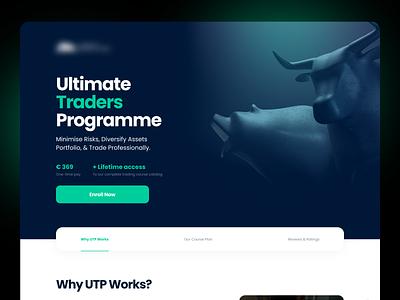 Bull & Bear Landing Page Design elearning finance fintech trading market glassmorphism digital marketing graphic design dark ui dark theme gradients web design landing page