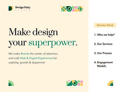 Studio Service Deck   Design Patty communication design brand design graphic design content deck slide deck content design social media
